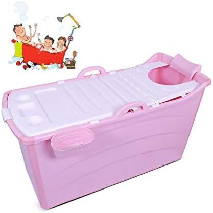 折りたたみバスタブ GYF 折りたたみ大人用浴槽 ポータブルプラスチック浴槽 座るカバー付き ホームアダルト 子供用入浴浴槽ベビースイミングビッグタブ 2色プール子供用浴槽 (Color : Pink)