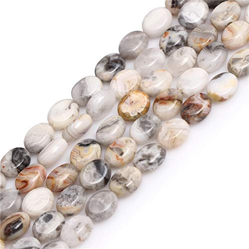 Crazy Lace Agate Beads for Jewelry Making Natural Gemstone Semi Precious 8x10mm Gray Oval 15