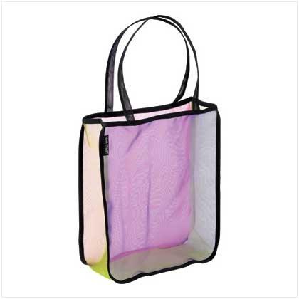 Reusable Rainbow Color Micro Fiber Mesh Tote Hand Bag