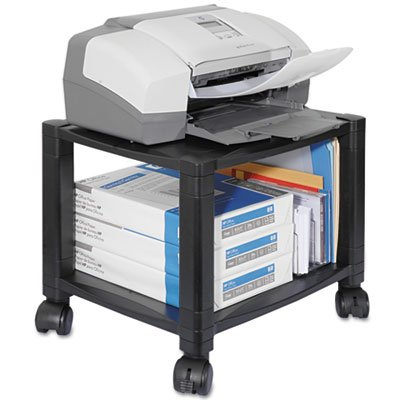 Mobile Printer Stand, Two-Shelf, 17w x 13-1/4d x 14-1/8h, Black, Sold as 1 Each by Generic