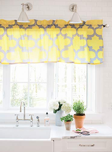 (Crabtree Collection Yellow Curtain Valance for Windows Yellow/Gray Trellis (16 x 60))