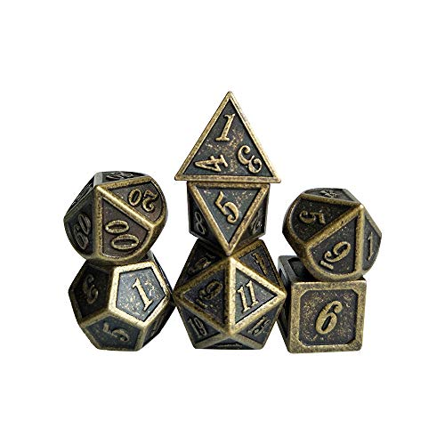 YH Poker 7PCS Metal Dice Set D&D Dice D20 D12 D10 D8 D6 D4 for Dungeons and Dragons DND RPG MTG Table Games Polyhedral Dice-New Bronze Copper