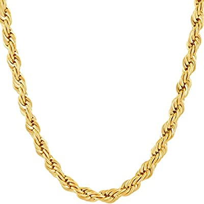 Lifetime Jewelry Chains for Men & Women [ 6mm Rope Chain ] Up to 20X More 24k Real Gold Plating Than Other Gold Plated Chains - Durable Gold Necklace 16 to 36 inches