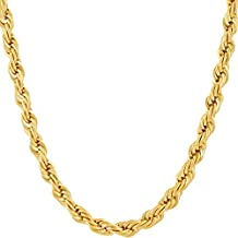 Lifetime Jewelry 6MM Rope Chain, 24K Gold with Inlaid Bronze, Premium Fashion Jewelry, Pendant Necklace Made to Wear Alone or with Pendants, Guaranteed for Life, 16 - 36 Inches