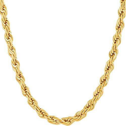 Lifetime Jewelry 6MM Rope Chain, 24K Gold with Inlaid Bronze, Premium Fashion Jewelry, Pendant Necklace Made to Wear Alone or with Pendants, Guaranteed for Life, 24 -