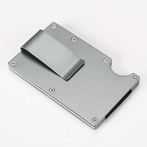 SUNTQ Metal Wallet Credit Card Holder Travel Minimalist Wallet,Business Aluminum Slim Money Clip Wallet with RFID Blocking (Dark Gray)