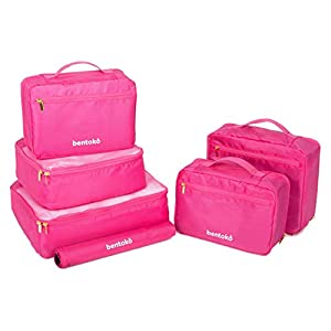 Bentoko 6 Piece Travel Packing Cube Organizer Set (Magenta)