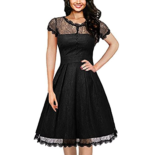 IHOT Womens Vintage Floral Lace Cap Sleeve Retro Swing Elegant Bridesmaid Dress,Black,Small