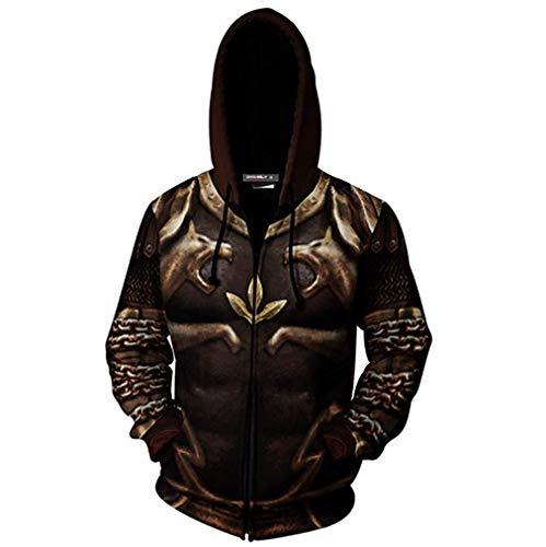 (Mucloth Men's GoW Warrior Kratos Adult Zip up Cotton Hoodie Sweatshirt Cosplay Costume (Large, Style)