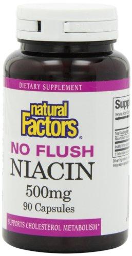 Природные факторы Нет Флеш Ниацин 500 мг капсулы, 90-Count