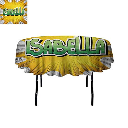 - GloriaJohnson Isabella+Iron-Free+Anti-fouling+Holiday+Round+Tablecloth+American+Birth+Name+on+Retro+Style+Fun+Cartoon+Backdrop+Poster+Design+Table+Decoration+D47.2+Inch+Yellow+Green+and+White+