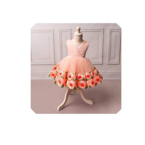 Rose Flower Girl Sleeveless Dress Kid Princess Elegant Party Pageant Dresses,4T