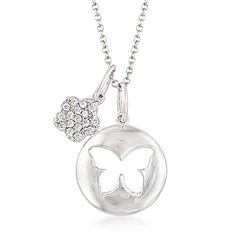 Sterling Silver Butterfly and Flower Charm Necklace With Crystals ()