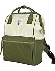 Japan Anello Backpack Unisex LARGE KHAKI WHITE Rucksack Waterproof Canvas Bag Campus