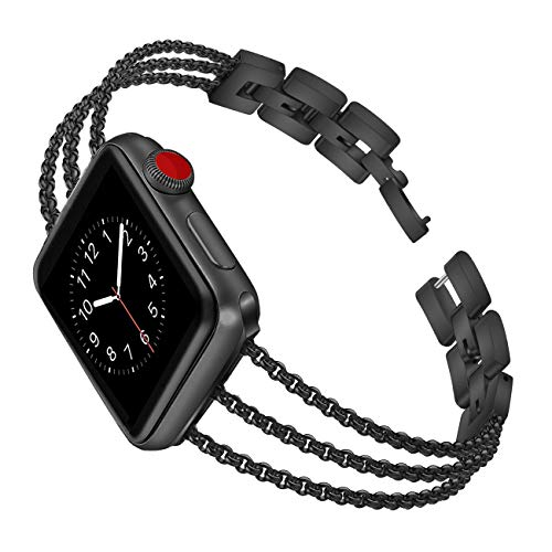 Biaoge Metal Band Compatible for Apple Watch Band Series 4 40mm 44mm/ iWatch Series 3 2 1 38mm 42mm, Adjustable Stainless Steel Replacement Wristband Strap Cuff Bangle Bracelet Accessorie(Black, ()