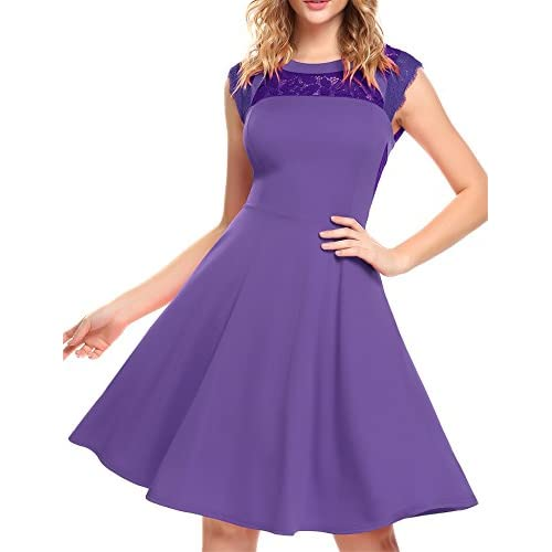 New ELESOL Women's Elegant Lace A-Line Sleeveless Pleated Cocktail Party Dress Purple M supplier