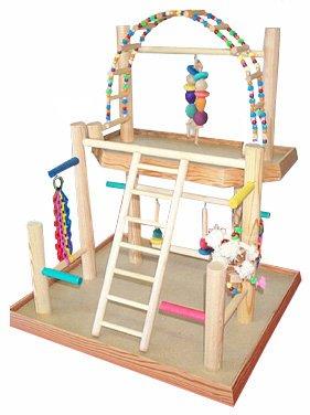 BirdsComfort Bird Gym, Bird Activity Center, Wood Tabletop Playstation for Parakeets - Base: 20'' x 19'' , Overall Height: 21'' - 2 levels