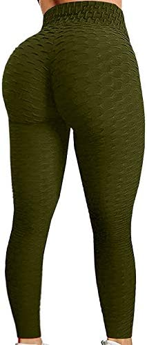 OLOPE Women's High Waisted Yoga Pants Bubble Hip Butt Lifting Leggings Workout Tummy Control Yoga Tights