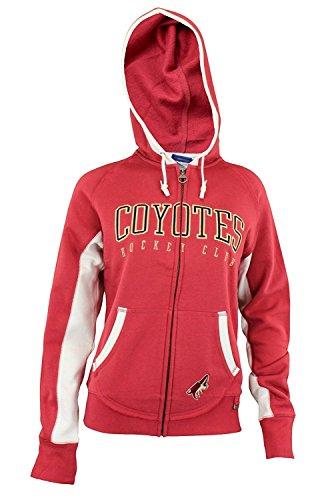 (Arizona Coyotes NHL Womens Full Zip Fleece Sunday Hoodie, Red)