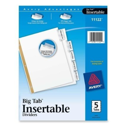 Worksaver Big Tab Dividers, Clear Tabs, 5-tab, Letter, White, 1/set - Ave11122 [10 Sets]
