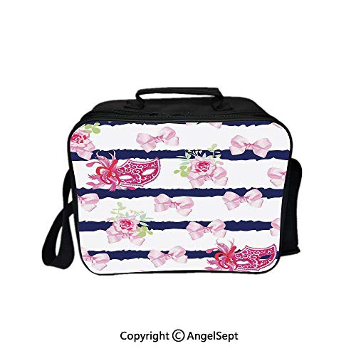 (Fashion Custom Lunch Bag Tote Bag,Venetian Style Carnival Masks on Stripes with Satin Bows Roses Flowers Pink White Blue 8.3inch,Lunch Organizer Lunch Holder For Unisex Adults)