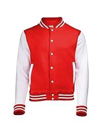 AWDis Hoods Varsity Letterman jacket Fire Red / White M
