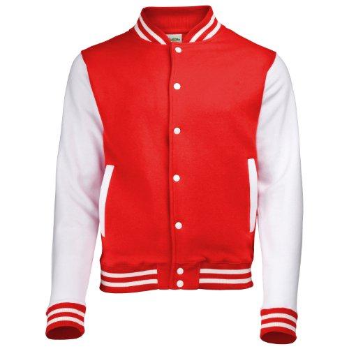 AWDis Hoods Varsity Letterman jacket Fire Red / White L -