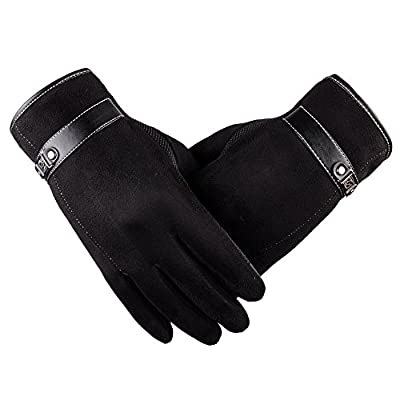 URIBAKE ? Men's Windproof Gloves Faux Fur Anti Slip Screen Touch Warm Motorcycle Ski Snowboard Mittens