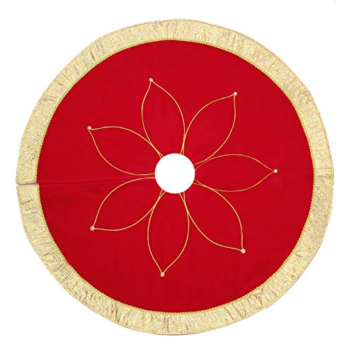Costyleen Christmas Tree Skirt Holiday Decoations Xmas Tree Home Decor 42 inches Non-Woven Red Flowers (Tree Nice Xmas)