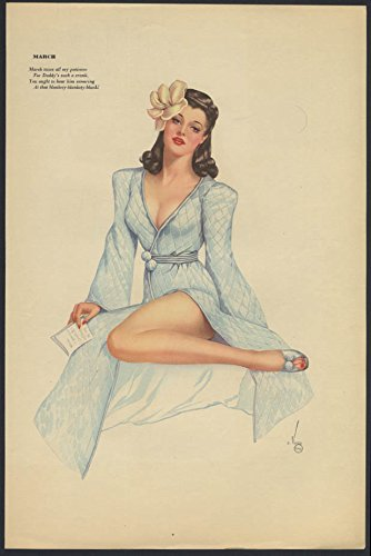 Frog Quilted (Varga Esquire 2-sided pin-up 3-4 1942 quilted robe / pigtails & lovebirds cage)