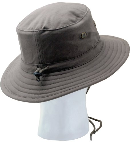 Sloggers Classic Cotton Hat with Wind Lanyard, Dark Brown, UPF 50+ Maximum Sun Protection, Style 4471DB