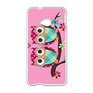 Cute Lovely Owl On Branch White htc M7 case