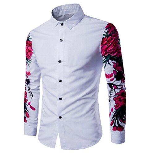Coolred Men 3D Print Floral Modern Dress Shirt Button Down Shirts White S