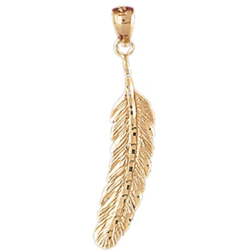 Jewels Obsession Feather Pendant | 14K Yellow Gold Feather Pendant - 33 mm