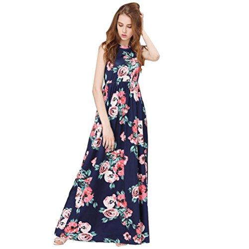 Todaies-Women Dress ❤Women Sleeveless Summer Dress,Todaies Loose Boho Dress Long Maxi Evening Party Beach Dress Floral Sundress 2018 (L, Blue) - Sexy Floral Dresses