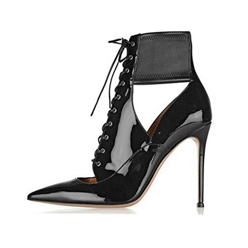 NVXIE Sandales Doigt Tribunal Chaussures Cheville Taille Femmes Grand Boîte Nuit Pied Stylet Sexy Noir Lacer de Fête 42 BLACK Pointu Talons Haute 35 Robe de des Pompes EUR39UK665 IwgvxIrnq