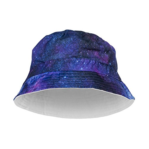 Fringoo Men's Bucket Hat Full Print Bandana Fishing Bush Holiday Hat Cap Party One Size Galaxy Space