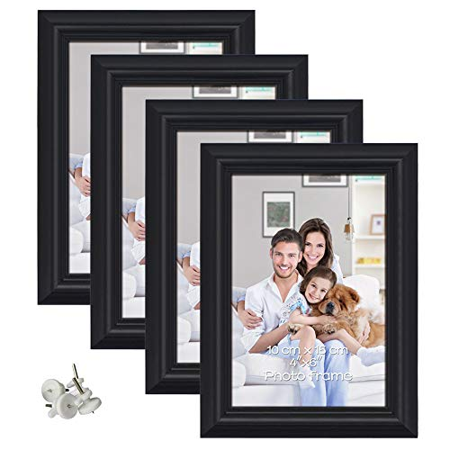 PETAFLOP 4x6 Picture Frame Made to Display 4 by 6 inch Photo Wall or Tabletop, Black, Set of 4