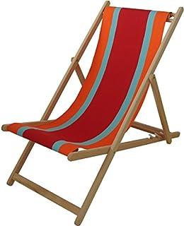 chaise longue transat chilienne deauville rouge les toiles du soleil - Chaise Longue Transat