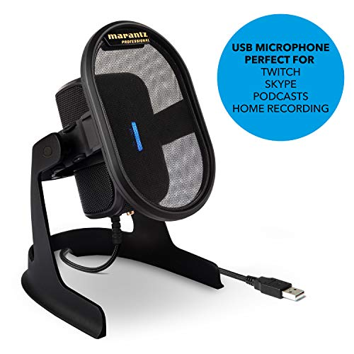 Marantz Professional Umpire - Driverless Desktop USB 2.0 Condenser Microphone with Integrated Pop Filter & Shockmount for Studio Grade Capture, Broadcasting, Streaming, Twitch, Skype and Conferencing