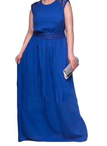 Coolred-femmes Sans Manches En Dentelle Occidentale Oversize Solide Élégante Robe De Mi-longueur 5xl Bleu