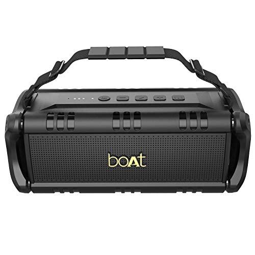 boAt Stone 1401 Bluetooth Speaker with 30W HD Audio, Twin EQ Modes, Up to 7H Playtime, Type-C Charging, Multiple Connectivity Modes, TWS Feature, IPX5 Water & Splash Resistance and Carry Strap (Black)