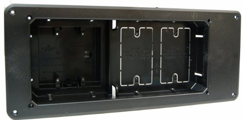 Arlington TVB613BL-1 Recessed TV Outlet Box with Paintable Trim Plate, Black, 4-Gang