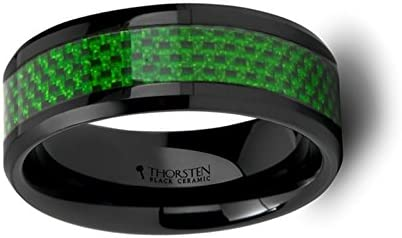 Thorsten MATLAL Black Ceramic Ring with Emerald Green Carbon Fiber Inlay and Beveled Edge Wedding Band 8mm Wide from Roy Rose Jewelry