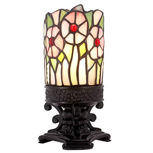 Small Mini Tiffany Lamp W4H9 Inch as Antique Beside Desk Night End Table Light for Living Room Bedroom WERFACTORY (Night Light)