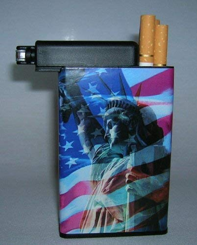 Cigarette Case Statue Liberty Flag Built on Lighter Holder Box by Cigarette ()