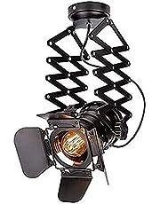 Vintage plafondspot, verstelbaar, plafondlamp, E27, hanglamp, arm met draaibare arm voor bar en eetkamer (E27 incl.)
