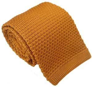 Gold Silk Knitted Tie by Michelsons