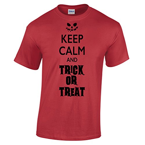 Keep Calm and Trick or Treat Halloween Costume Funny Pumpkin Scary Candy Mens T-Shirt (Funny College Halloween Costume Ideas Men)
