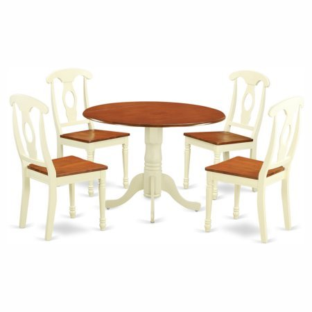 5 Piece Wood Dining Table and Chairs Set, Round Table, Traditional Style, Durable Construction, Perfect for Everyday Meal and Family Gathering, Kitchen, Restaurant, Furniture (Buttermilk / Cherry) by ProGiga Select